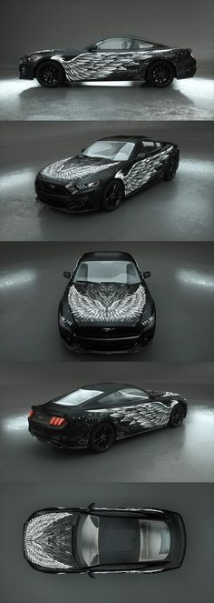 Dark Wings White car wrap design