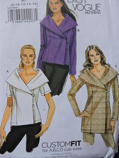 FF 2011 Plus Size Very Easy Vogue 8770 Pattern, Custom Fit Double Breasted Top and Tunic Sewing Patt Vogue Patterns, Tunic Sewing Patterns, Costume Patterns, Vintage Sewing Patterns, Classic Style, Classic Fashion, Princess Seam, Cool Patterns, Pattern Fashion