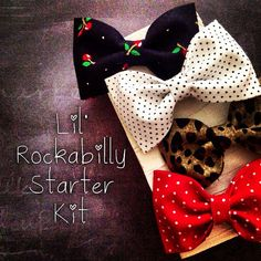 Rockabilly baby girl fabric hair bow cherries leopard white red black polkadots