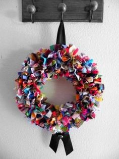 Recycled fabric wreath
