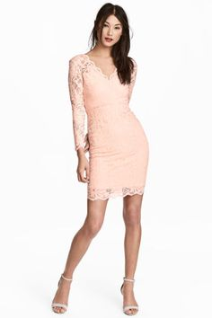 Lace dress - Powder pink - Ladies   H&M 1