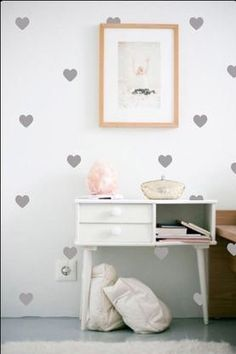 Grey Gold Heart Wall Decal Sticker. Decor Kids Room Childrens Room Removable Nursery Decorating Wallpaper