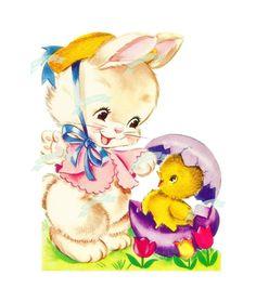 Vintage Easter Spring Digital download, Vintage greeting card