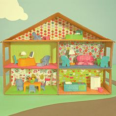 P A J A M A M A M A || A DIY & Homeschool Blog: Cardboard Dollhouse Furniture Instructions