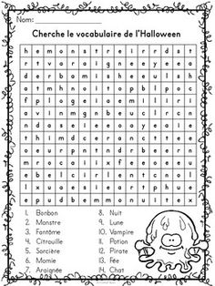 L'Halloween - Mots croisés, cachés, fléchés - French Halloween Theme Halloween, Pirate Halloween, Halloween Math, Halloween Activities, Holidays Halloween, Halloween Crossword Puzzles, Halloween Vocabulary, Bricolage Halloween, French Lessons