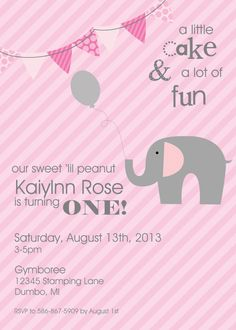 "Sweet Little Peanut Collection: Set of 12 5x7"" Elephant Birthday Invitations. Elephant First Birthday. Pink Grey Pennant and Stripes. on Etsy, $24.00"