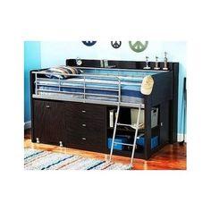 Children Kids Storage Loft Bed Desk Espresso Bedroom Furniture Boys Bunk Cabinet #Charleston