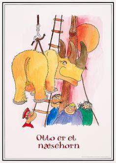 Ole Lund Kirkegaard - Otto er et næsehorn Bog, Lund, Illustration, Poster, Illustrations, Billboard