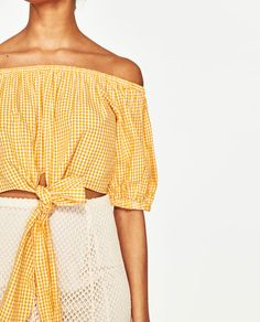 Image 6 of OFF-THE-SHOULDER GINGHAM TOP from Zara