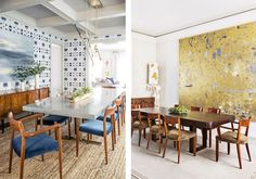 Where to Splurge and Where to Save in the Dining Room, Laurel & Wolf, dining-room-walls Ikea Dining Table, Dining Room Walls, Dining Room Design, Large Scale Art, Bar Cart Styling, Old Chairs, Rustic, Inspiration, Furniture