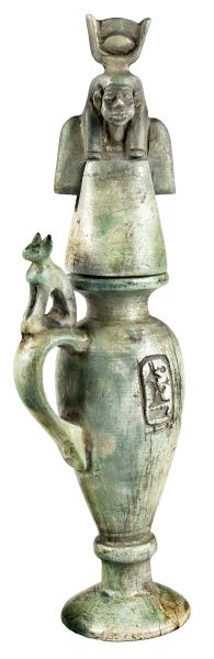 Carved light green limestone cosmetic jar with an incised cartouche on either side, Isis, protective Goddess 18th Dynasty. 1570-1342 BC
