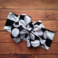 Obsessed with these bows!!! Waterproof for the Pool or Beach!!  Dots and Stripes Messy Bow Head Wrap in Black and by rubyblueinc, $14.99