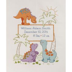 Bucilla Cute-A-Saurus Birth Record counted-cross-stitch Kit, , hi-res - http://www.diyhomeproject.net/bucilla-cute-a-saurus-birth-record-counted-cross-stitch-kit-hi-res