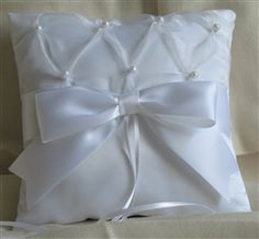 Pearls under organza with big bow white ring pillow Ring Pillow, Big Bows, Ring Bearer, Wedding Accessories, Wedding Ideas, Pearls, Pillows, Rings, Color