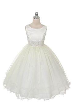 Belladonna, Romantisch bruidsmeisjesjurk met een kanten band in de taille en kleine bloemetjes op de dubbel laagse tule rok. Kinderbruidsmode, kinderbruidskleding, bruidsmeisjes jurken, bruidsmeisjes jurk, bruidskinderen, bruidskinderkleding, flower girls.