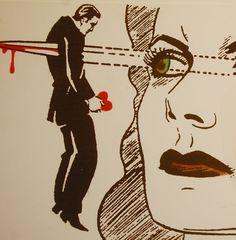vintage stabbed through the heart art image illustration sketch man woman couple love retro pop Comic Kunst, Comic Art, Comic Books, Arte Pop, Illustrations, Illustration Art, Pop Art Vintage, Yennefer Of Vengerberg, Charlie Chaplin