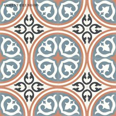 Cement Tile Shop - Encaustic Cement Tile Isla Blue $82/box of 12 I really like this one.