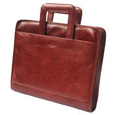 Luxury Brown Leather Business Folder | Tassia Zip around Portfolio