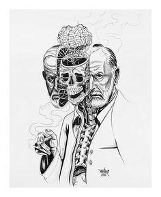 Nychos - Dissection of Sigmund Freud ink on paper, 24 x 19 in. Psychology Tattoo, Art Psychology, Sigmund Freud, Pop Art, Collage Illustration, Anatomy Art, Anatomy Tattoo, Street Artists, Skull Art