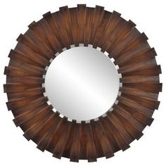 @Overstock - This Woodlawn mirror is finished in a faux walnut stain and is bordered with wood planks for a rustic yet refined look. Update any room with the contemporary appeal of this circular mirror.   http://www.overstock.com/Home-Garden/Woodlawn-Stained-Wood-Mirror/7857848/product.html?CID=214117 $199.99