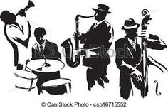 Clipart Vector of Jazz quartet - Musicians black silhouettes ...