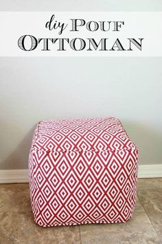 DIY Pouf Ottoman ~ Tutorial and Lessons Learned For a fraction of the price, you can make your own DIY pouf ottoman. This simple tutorial breaks down all of the steps and makes it easy for anyone to create their own gorgeous pouf. Easy Sewing Projects, Sewing Projects For Beginners, Sewing Hacks, Sewing Tips, Sewing Tutorials, Pegboard Craft Room, Hang Pegboard, Painted Pegboard, Diy Kitchen Shelves