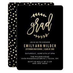 Chic Gold Foil   Graduation Party Card