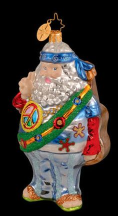 RADKO CLAUS FOR PEACE Santa Hippy Love 70's Ornament NEW Made in Poland