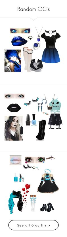 """Random OC's"" by rayofdarkness ❤ liked on Polyvore featuring Converse, JC de Castelbajac, Kevin Jewelers, emo, OC, GiveMeSuggestions, Allurez, Bling Jewelry, Lime Crime and OPI"