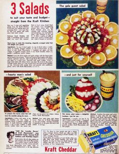 Retro Salad Recipes Retro Recipes, Old Recipes, Vintage Recipes, Cookbook Recipes, Retro Food, Vintage Food, Retro Ads, Old Fashioned Recipes, Vintage Scrapbook
