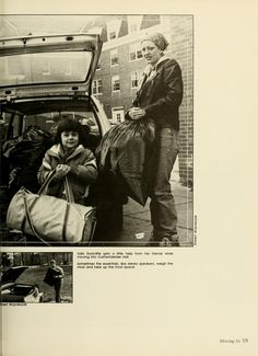 "Athena Yearbook, 1984. ""Sally Radcliffe gets a little help from her friends while moving into Gamertsfelder Hall."" :: Ohio University Archives"