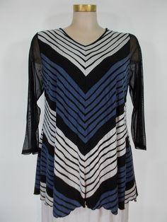 Comfy USA - Crinkle Jacquard Black/White/Violet Blue Stripe Mesh Sleeve Daniela Tunic