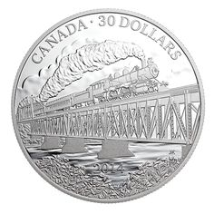 Beautiful design of a steam train in a 2 oz. Mint Coins, Silver Coins, Canadian Coins, Valuable Coins, Silver Horse, Gold Bullion, Rare Coins, Coin Collecting, Paper Flowers