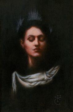 """""""La Nuit Des Poètes"""" (2017) Mixed media on wood. Cm. 32x20 Model: Francesca Persia"""