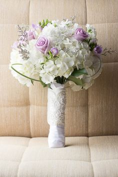 Soft pastel purple and white wedding bouquet - white hydrangeas and purple roses {Erica Hasenjager Photography}