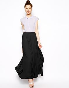 ASOS Pleated Maxi Skirt. Casual skirt, dressy with a cool black top and shoes. Versatile and comfortable is the name of the game, ladies!