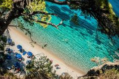 Fantastic blue-green water at Tsamadou beach, Samos Island, Greece ☀️ Pictures Of Beautiful Places, Beautiful Places In The World, Oh The Places You'll Go, Cool Places To Visit, Greece Pictures, Ocean Pictures, Cool Pictures, Ocean Pics, Samos Greece