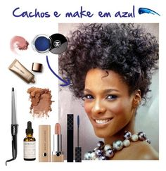 Cachos e make pele negra em tom azul by tatiele-413 on Polyvore featuring polyvore, beauty, Marc Jacobs, Nude by Nature, Gucci, NARS Cosmetics and BaByliss