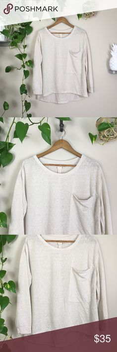 Cloth by rdi long sleeve Cloth by RDI casual long sleeve tee.  Fairly sheer. Beautiful nude neutral color.  Measurements: 28 inches Total Length 40 inches Bust Around 90% polyester 10% linen New without tags. No flaws, never worn.   👊🏼No trades ✨Thank you so much for shopping my closet! Shop around my other listings for one of a kind dyed items.🦄 cloth by RDI Tops Tees - Long Sleeve