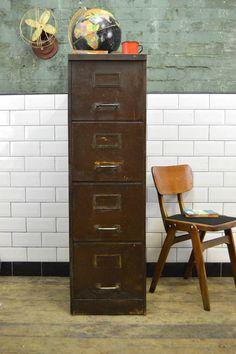 vintage industrial metal 4 drawer filing cabinet desk drawers