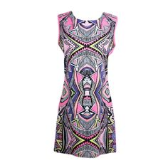 Sexy Contrast Print O-Neck Sleeveless Back Zipper Summer Mini Rose Dress