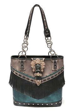 9e70497bdc1 Western Cowgirl Metallic Color With Fringe And Belt Clip Tote Chain Handle  Bag - - MATERIAL PU Faux Leather - 3 Inside Compartments and 1 Zippered  Pocket ...