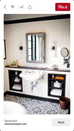 Wonderful Black and White Bathroom Design : Wall Miriror And Smart Bathroom Storage Design Bathroom Renos, Bathroom Flooring, White Bathroom, Bathroom Storage, Bathroom Ideas, Neutral Bathroom, Bathroom Designs, Pool Bathroom, Wall Storage