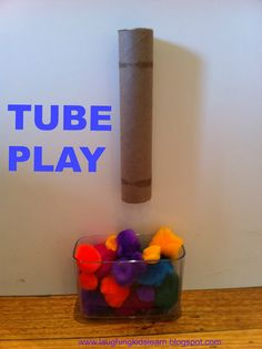 Tube Play is great for babies through to adults. Level of challenge can be adjusted. Great to teach young children about object permanence and develop fine motor skills.
