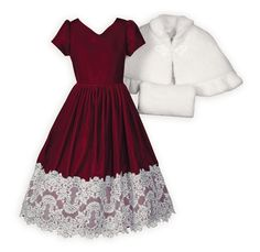 Claret Velvet and Lace Sparkle Dress Luxurious rayon velvet dress with elegant white lace hem embellished with silver stitching. Delicate sweetheart neckline dips to a V in back. Gently p Tween Party Dresses, Girls Special Occasion Dresses, Dresses For Tweens, Cute Dresses, Ballet Clothes, Girls Christmas Dresses, Gold Dress, Clothes For Sale, Night Gown