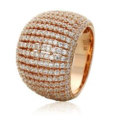 f8c0b453e5 Sterling Silver 14K Rose Gold Plated High Domed Design CZ Beautiful Pave…  Right Hand Rings