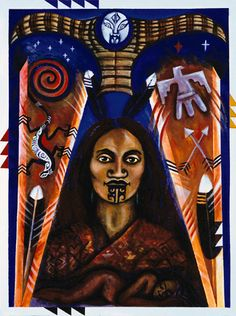 June Grant (Maori: Te Arawa, Tuwharetoa, Tuhourangi, Ngati Wahiao) - Ruahine Woman of Two Peoples , acrylic on canvas. Polynesian People, Polynesian Art, Native Canadian, Native American, Maori People, Nz Art, Aboriginal People, Maori Art, Kiwiana
