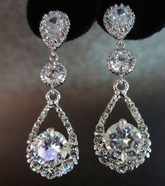 Bridal jewelry // Crystal rhinestone earrings by QueenMeJewelryLLC, $58.99