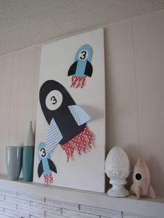 rocket ship party mantle decorations