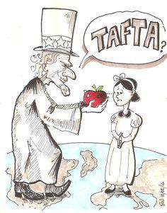 TAFTA - pomme empoisonnée ? Des négociations du traité de libre-échange entre l'Europe et les États-Unis, confirmant les pires craintes sur ce qu'il recèle en termes de menace pour l'environnement et la santé et révélant la pression exercée par les négociateurs américains (source texte: greenpeace).